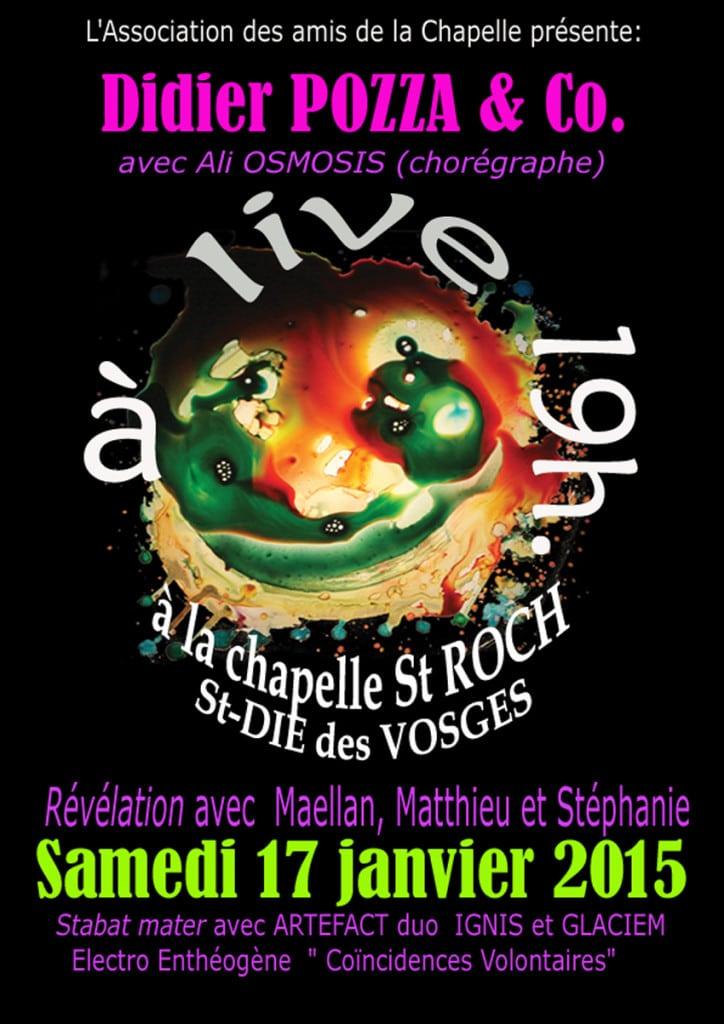 Affiche de la soirée du 17 janvier 2015 à la Chapelle Saint-Roch.