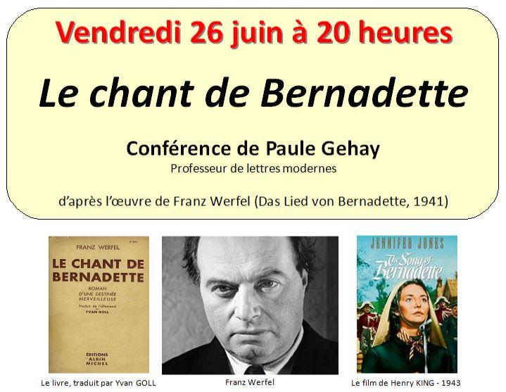 Affiche de la conférence de Paule Gehay du 26 juin 2015