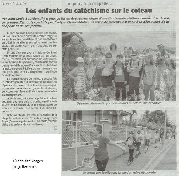 Les enfants du cathé à la chapelle - Echo des Vosges du 16 juillet 2015