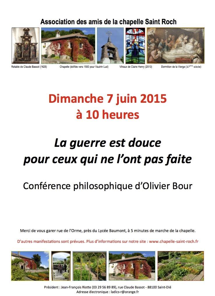Affiche de la conférence d'Olivier Bour, le 7 juin 2015.