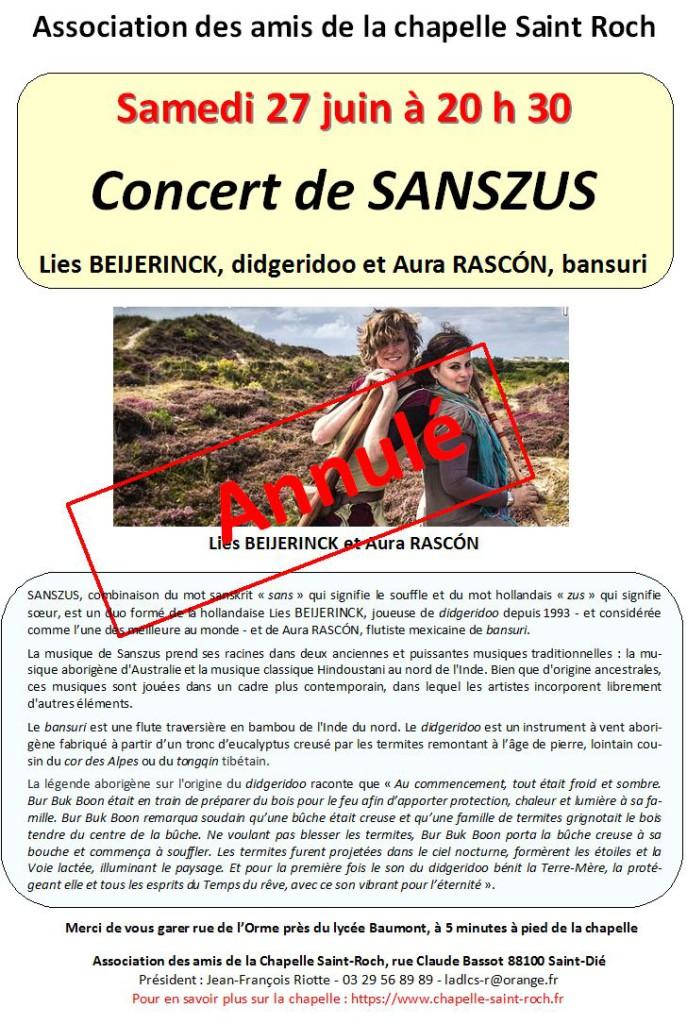 Affiche de l'annulation du concert de Sanzus