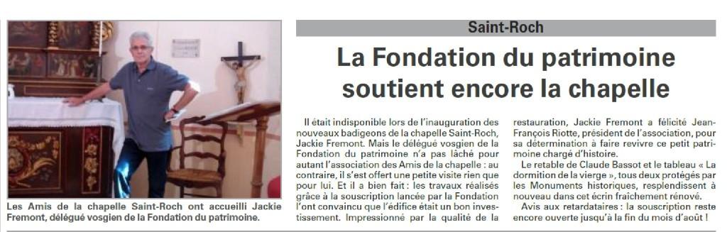 La Fondation du Patrimoine soutient encore la chapelle