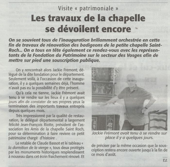 Les travaux de la chapelle se dévoilent encore Echo des Vosges 22-8-2015