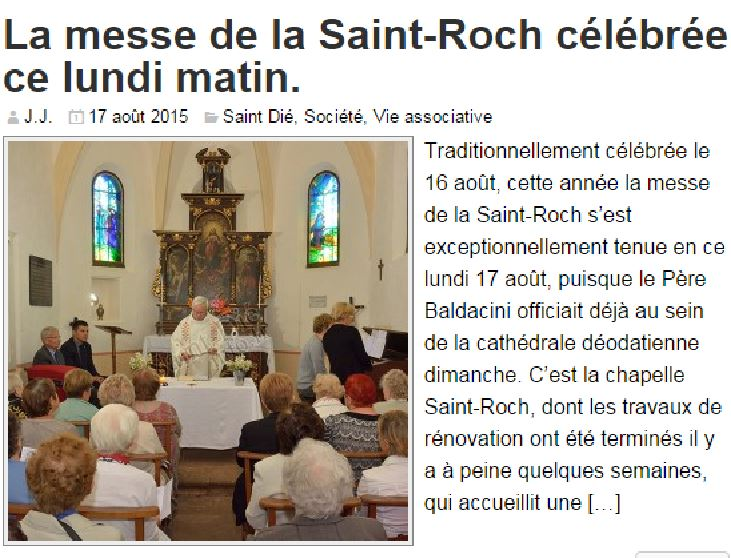 Article de Saint-Dié Info du 17 août 2015