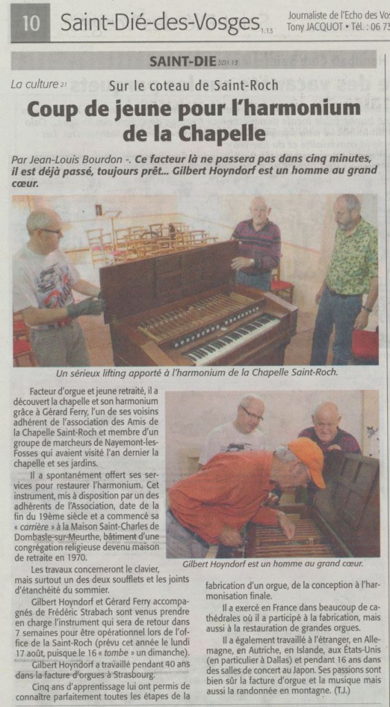 Coup de jeune pour l'harmonium Echo des Vosges 2 juillet 2015