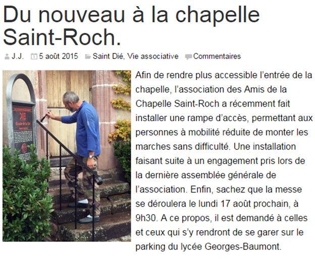 Du nouveau à la chapelle Saint-Roch - Saint-Dié Info du 5 août 2015