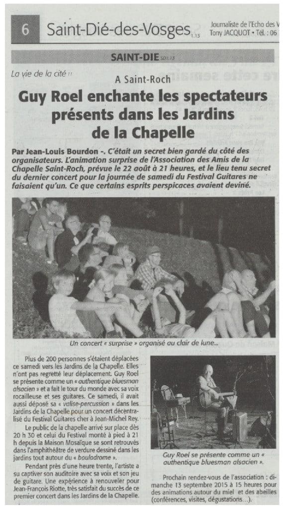Guy Roel enchante les spectateurs à la chapelle Echo des Vosges 3-9-2015