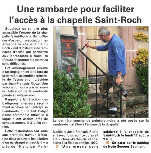 Une rambarde à la chapelle Saint Roch - Vosges Matin du 5 août 2015