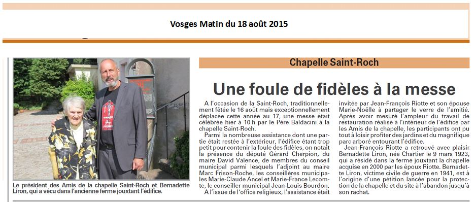 Vosges Matin du 18 août 2015