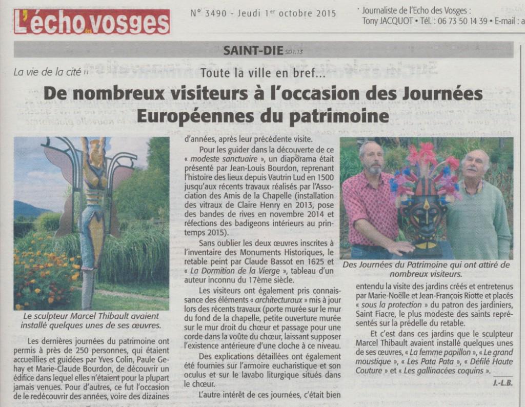 Chapelle St-Roch Journées du Patrimoine 2015 Echo des Vosges