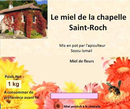 """Étiquette des pots du """"Miel de La Chapelle"""" (250 g, 500 g ou 1 kg)"""