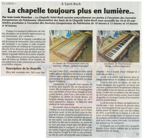 La chapelle toujours plus en lumière Echo des Vosges 17-9-2015