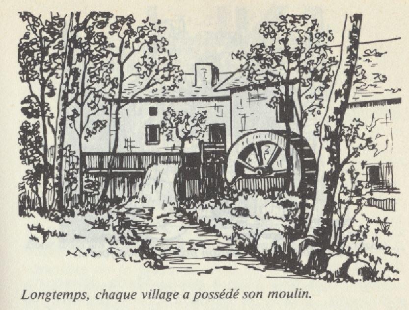 """Un moulin, dessin de Bernard Claudon extrait du livre """"Le pain d'autrefois""""."""
