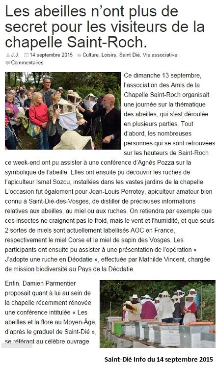 Les abeilles n'ont plus de secret pour les visiteurs de la chapelle Saint-Roch - Saint-Dié info du 14 septembre 2015