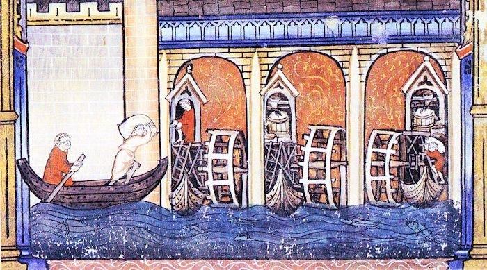 Moulin à aubes au 14e siècle. Bibliothèque Nationale de France