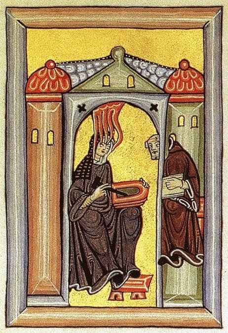 Hildegarde recevant une vision,  dictant au moine Volmar,  et dessinant une esquisse  sur une tablette de cire.  Frontispice duScivias (1165).