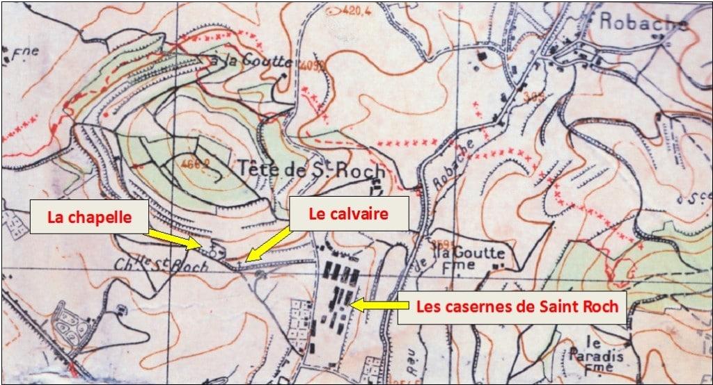 L'emplacement du calvaire sur une carte du début du 20e siècle