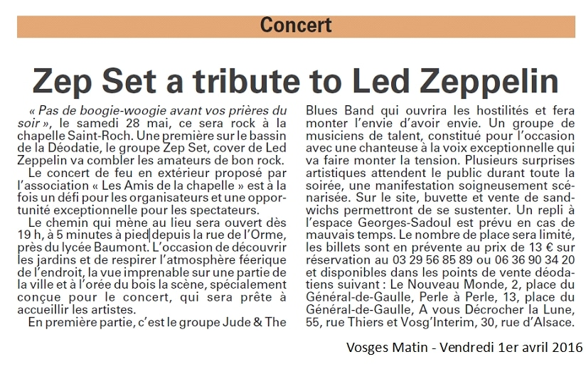 Rock à la Chapelle Article de Vosges Matin 1-4-2016