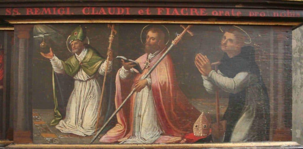 Saint Fiacre, patron des jardiniers, en compagnie de saint Claude et saint Rémi. Détail de la prédelle du retable de Claude Bassot. Chapelle Saint Roch de Saint-Dié.
