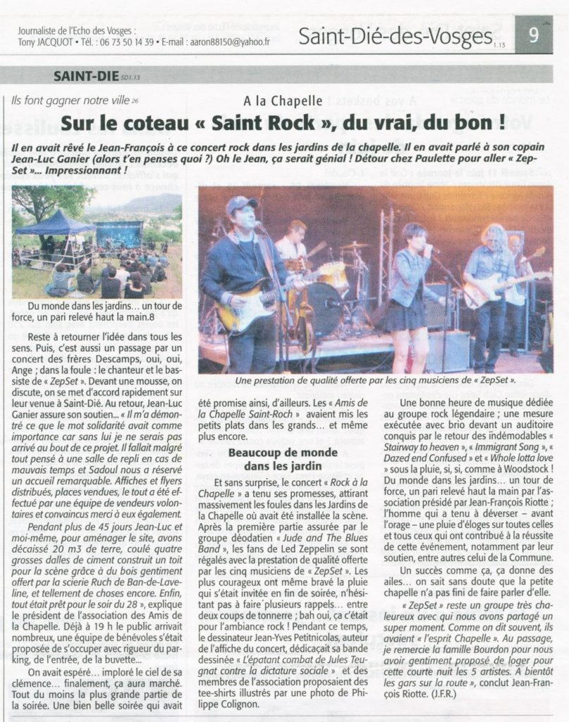 Echo des Vosges du 9 juin 2016.