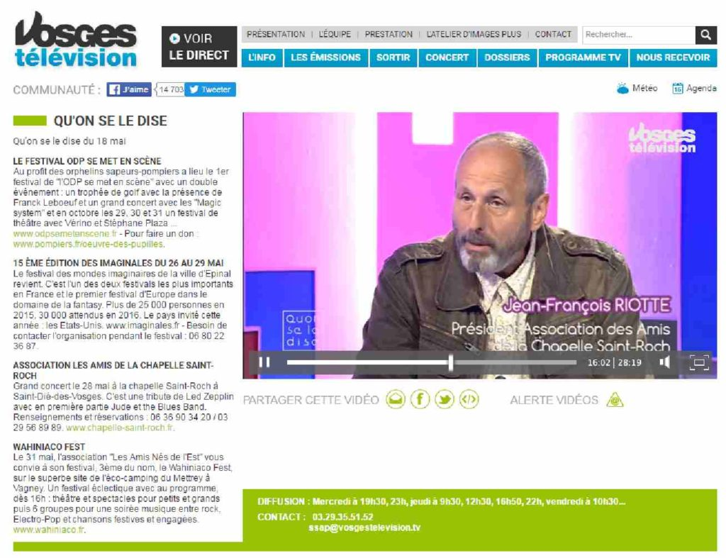 """Capture d'écran. Vosges Télévision, émission """"Qu'on se le dise"""" du 19 mai 2016."""