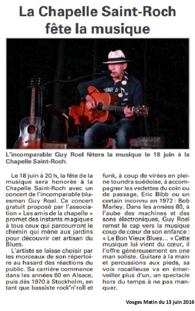 Guy Roel à la chapelle- Vosges Matin du 13 juin 2013