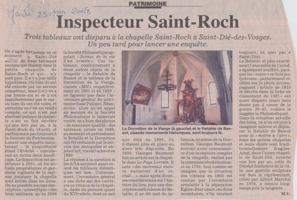 Article de Michel Urban. Est Républicain du 25 mars 2008