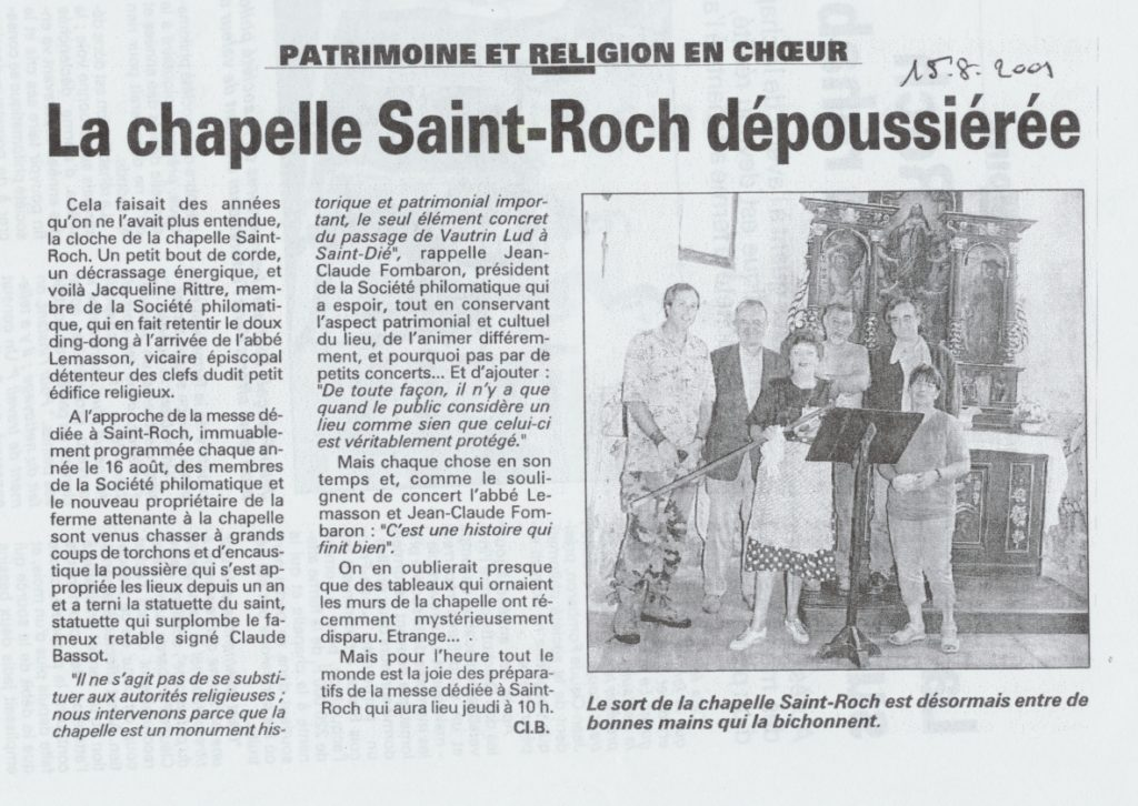 Article de Claire Brugier (Liberté de l'Est du 15 août 2001) mentionnant la disparition des tableaux