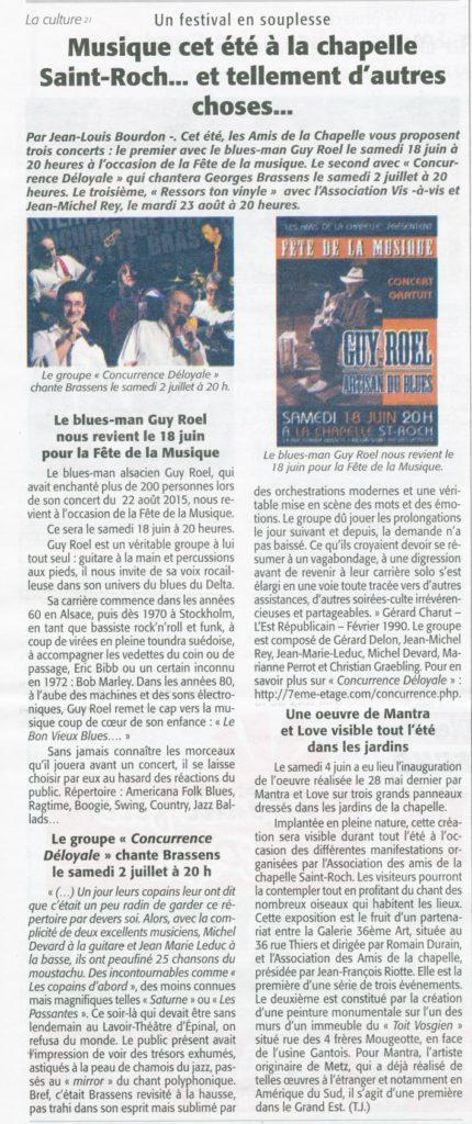 Musique cet été à la chapelle. Echo des Vosges du 16 juin 2016