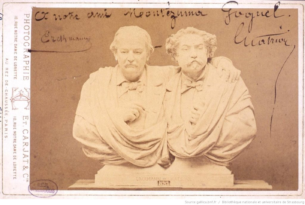 Photo dédicacée par Erckmann et Chatrian pour leur ami déodatien Montézuma Goguel. BNU de Strasbourg.