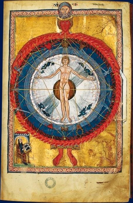 L'univers en Dieu. Deuxième vision d'Hildegarde de Bingen. Extrait du Livre des œuvres divines. On notera la parenté de l'homme de Vitruve réalisé plus de 300 après par Léonard de Vinci en 1485-1490.