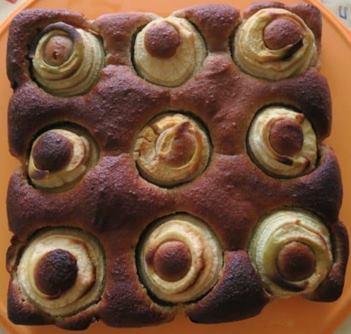 Photo du gâteau au miel, aux amandes et aux pommes
