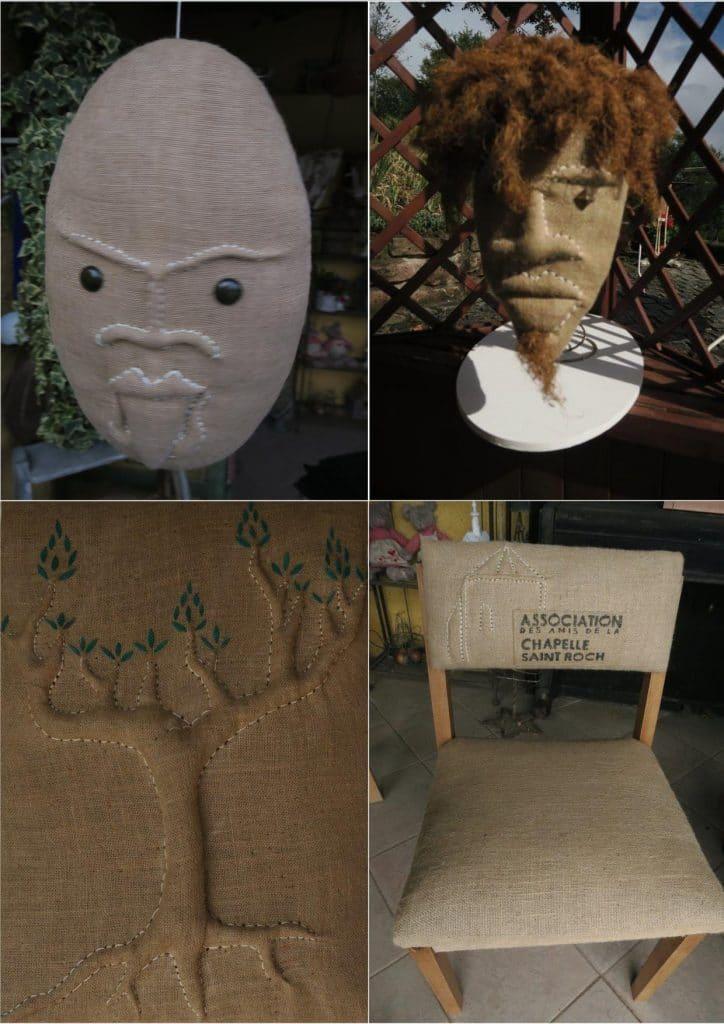 4 des oeuvres de Fabrice Podvin. Un masque, une tête, un arbre et un chaise avec le logo des Amis de la Chapelle
