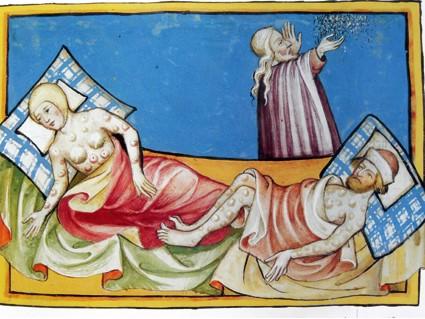 Pestiférés avec leurs bubons-Miniature de la Bible de Toggenburg-Suisse-1411
