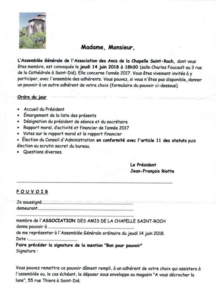 La convocation pour l'AG du 14 juin